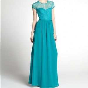 NWT Erin Fetherston Lace Overlay Green Long Dress